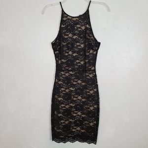 NWT Aqua Black Lace Fitted Cocktail Dress